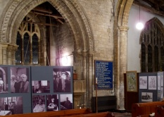 Part of the exhibition and the 12th century tower arch